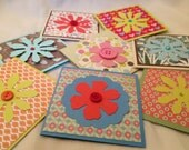 "Set of 8 Handmade Mini 3x3"" Note Cards - Variety of Colors and Patterns - Die Cut Flower with Button/Jewel Center - ALL OCCASION ANYTIME"