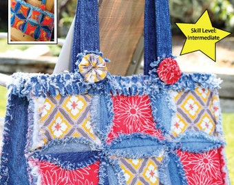 PATTERN Denim Circle Rag Quilt pattern UPDATED use your : denim circle rag quilt - Adamdwight.com