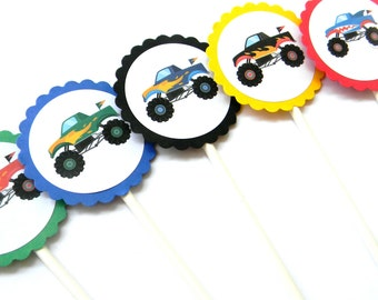 12 Monster Truck Cupcake Toppers, Monster Truck Birthday, Truck Theme, First Birthday, Boy Party, Baby Shower, Dirt Bikes, Party Decor