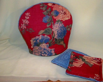 """Tea For Two - Decorative Lined Bark Cloth Teapot Cozy With Matching Coasters - For The Perfect """"Cuppa"""""""