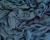 Hand Dyed Cotton Scrim, Gauze, Art Cloth, Scarf for nuno felting, art and mixed media projects, Dark Sludgy Green, Dark Grey, Brown
