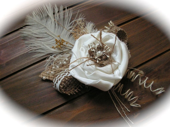 Burlap Boutonniere, handmade of white  silk, lace, feather  and natural burlap.