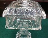"""Beautiful Vintage/Antique Covered Pressed Glass Candy Dish (Pedestal Type) 9 3/4"""" tall"""