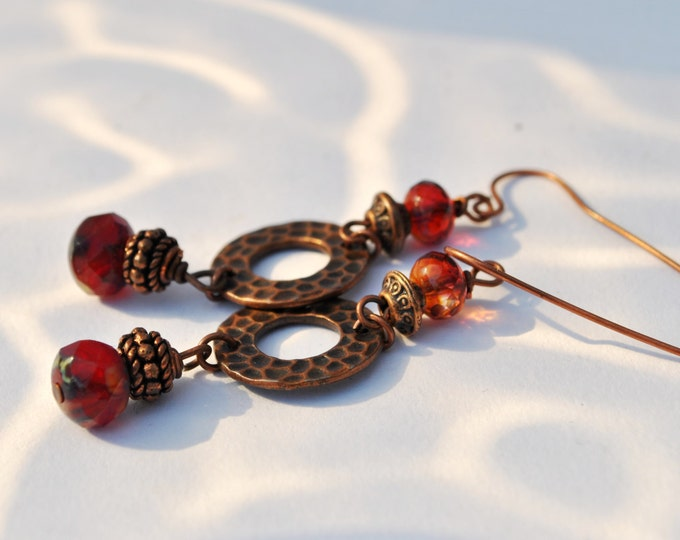 Sangria Red and Copper earrings with Czech glass beads and copper circles and copper beads
