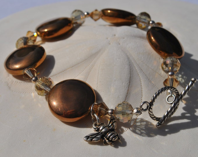 Golden Honey Bee Czech glass bead Bracelet Set with topaz crystals, sterling silver beads and toggle clasp.