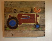 Red Tractor art,rustic wall art,20x20,Pallet Art,Old Red Tractor,Farm,Barn,Decor,Boys Bedroom,Nursery art,wood plank art,Any Color