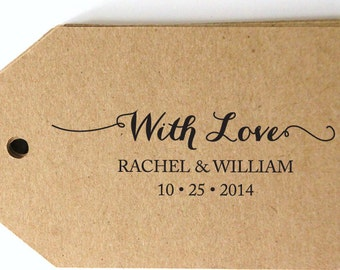 "CUSTOM ""with love"" pre inked STAMP from USA, personalized address stamp, pre inked custom address stamp, gift tag stamp with proof - b5-56"