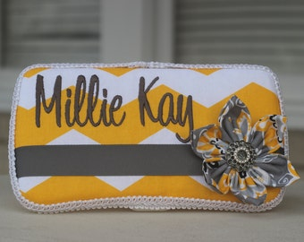 Yellow and Grey Chevron Boutique Wipe Case