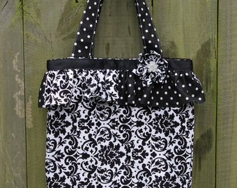 Black and White Damask and Polka-Dot Boutique Ruffled Tote Bag