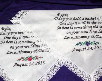 FLOWER GIRL Custom Embroidered Wedding Handkerchief for