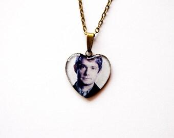 "Doctor John Watson  (Martin Freeman) - From Television Series ""Sherlock"" - Handmade Heart Cameo Pendant Necklace - Sherlock Jewelry"