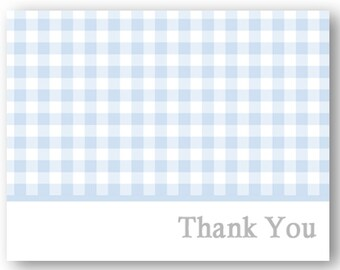 INSTANT DOWNLOAD Light Blue Gingham Thank You Note - A2 folded note card- Printable