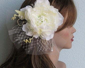 Ivory Bridal Flower Hair  Clip Wedding Hair Clip  Wedding Accessory Peony Hair Clip Bridal Accessory