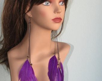 Long Purple Feather Earrings Wedding Accessory Purple Feather Earrings Bridal Accessory