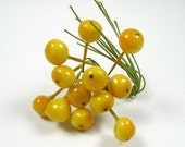 Vintage Millinery Berries Lacquered Fruit Decoration NOS Tiny Yellow Berries Cherries Apples for Hats Crafts Corsage