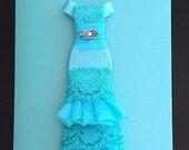 Beautiful Aqua Blue Lace & Organza Dress Greeting Card - PERSONALIZE in English or Spanish