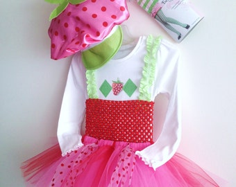 Girls Tutu Strawberry Shortcake (inspired) costume,tights &hat size 4 ,5 ,6 ,7, 8, 10