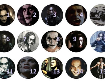 The Crow. 1 in. circle images. Perfect for bottle caps.