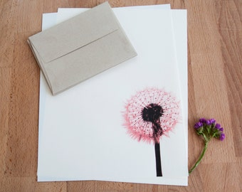 Letter Writing Set - Dandelion - Letter Writing Paper Set - Red Dandelion Flower
