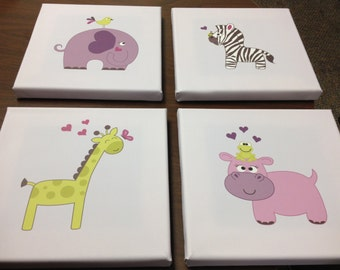 Baby Jungle Animals Canvas Prints