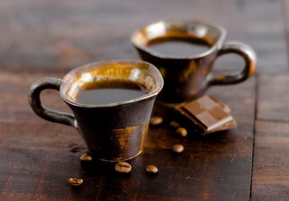 Espresso cups coffee ceramic stoneware pottery - unique handmade ...