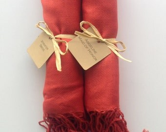 Set of 2 Burnt Orange Shawls with Favor Tags, Pashmina, Wedding Favor, Bridesmaids Gift, Wraps, Welcome Bags, Wedding Keepsakes