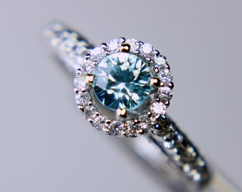 Fancy Blue Zircon in an Accented Halo Sterling Silver Ring