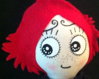 """Basic 10"""" Ruby Gloom cloth/wool felt doll"""