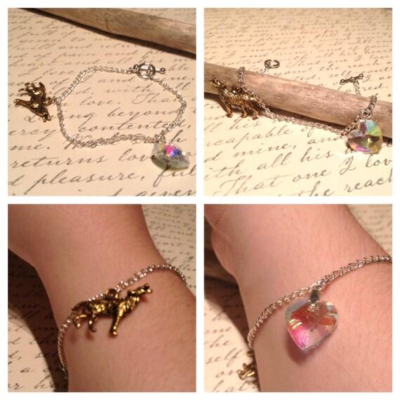 Wolf Charm Bracelet: Bella Swan Bracelet Twilight Bracelet Wolf Bracelet Heart