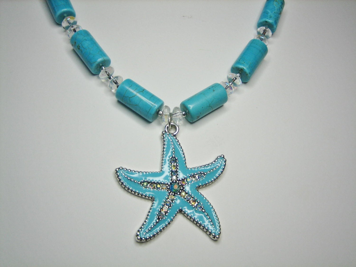 womens turquoise necklace silver metal starfish pendant
