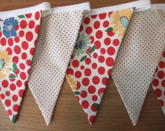 Bunting in 'School days' flower/dot fabric and red/cream polka dot with 9 flags