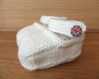 Hand knitted cream baby shoes with union jack buttons  -  0-3, 3-6 and 6-9 months