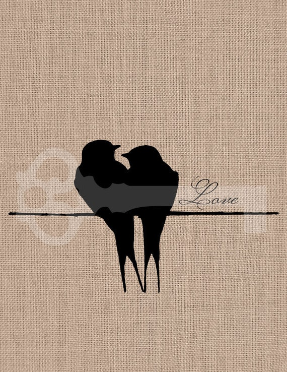 Love Birds Silhouette Digital Download Image By