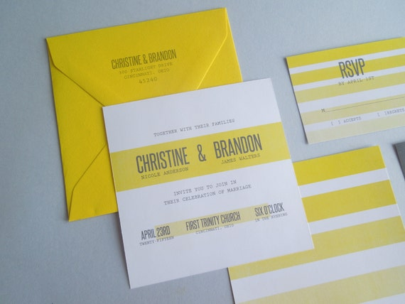 Yellow Wedding Invitation, Bold Wedding Invite, Printable