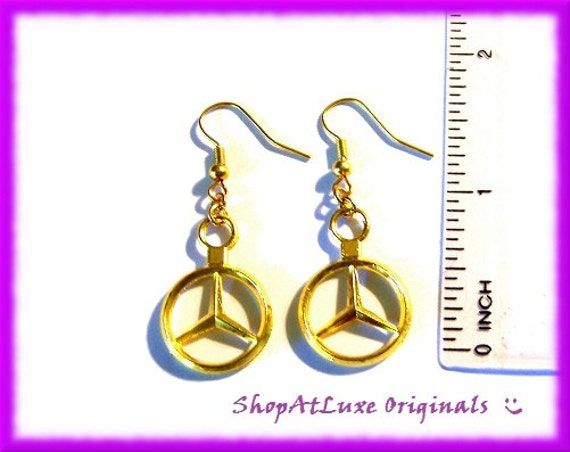 Exclusive design mercedes benz logo earrings a by shopatluxe for Mercedes benz earrings