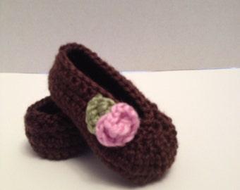 Crochet Baby Booties, Ballet Booties, 0-3 Months
