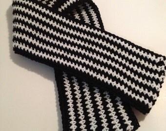 Crochet Infinity Scarf, Cowl, Zebra Stripes
