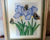 Irises and butterflies signed numbered framed Silk screen print