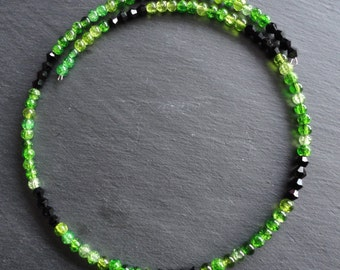 Necklace Glassbeads green and black