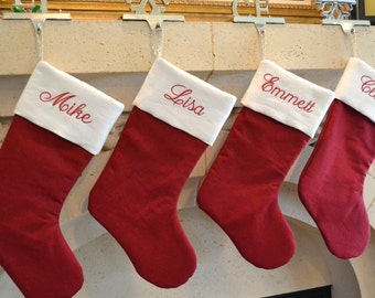 Personalized Linen Christmas Stocking - Monogrammed Red and White linen Stocking