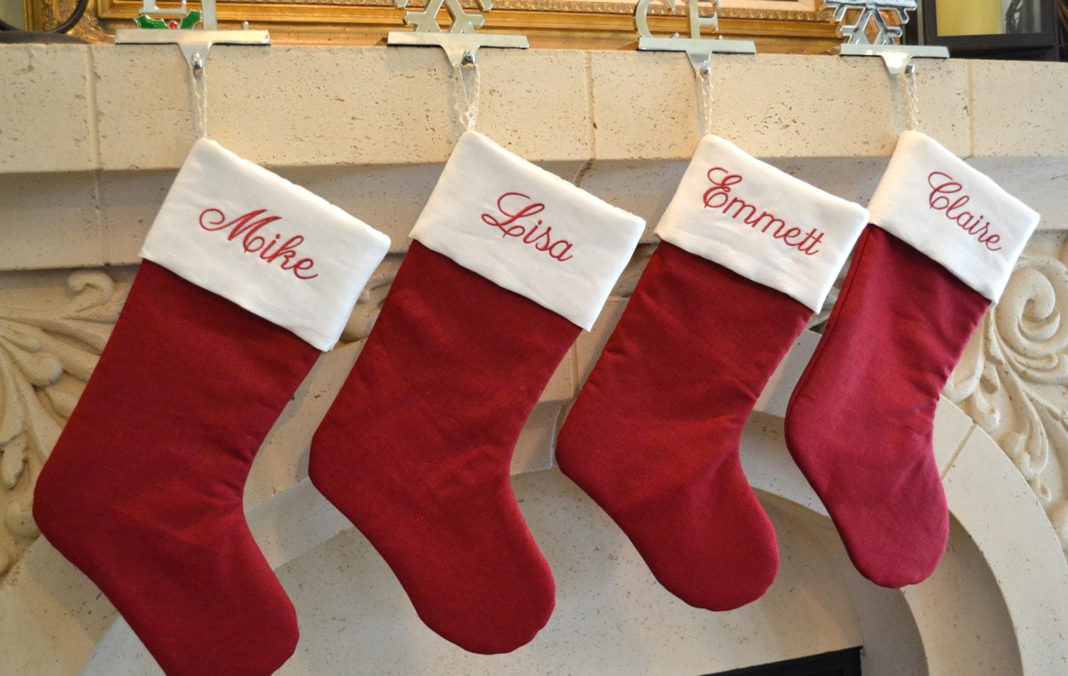 Personalized linen christmas stocking monogrammed red and for Custom made christmas stockings