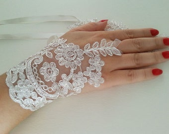 Bridal  Lace Gloves, fingerless gloves, silver gray and white,  bridal cuff, wedding bride, bridal gloves,  Wedding Accessory
