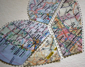 Unique Paper Anniversary Gift - First Anniversary Gift - Map Heart Wall Decor -  Design #36