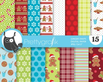 80% 0FF SALE christmas gingerbread digital paper, commercial use, scrapbook papers, background, polka dots, stripes - PS643