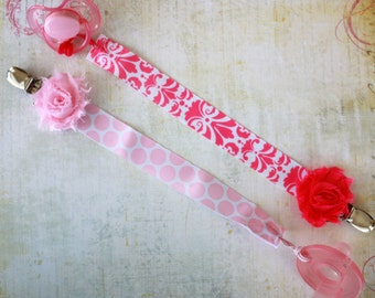 MORE STYLES-Boutique Style-Pacifier Clip-Baby Girl Pacifier Clip-Universal Pacifier Clip-Paci Clip-Chic-Pink Damask-Pink Polka Dot