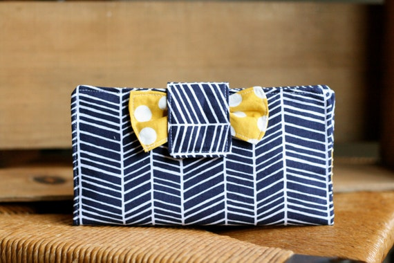 Herringbone navy and yellow women's wallet-perfect for everyday use or a cash budget system