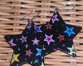 Colorful Plastic Star Shaped Earrings