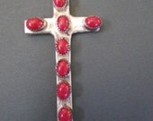 Sterling Silver and Coral Native American Made Cross