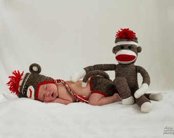 Sock Monkey Newborn Photo Prop Set, in Brown and Red