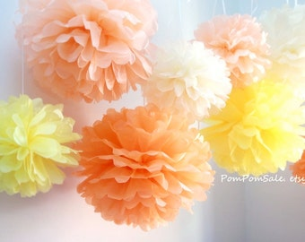 SALE - Sunshine - 8 Tissue Paper Pom Poms - Fast Shipping - Wedding / Baby Shower / Birthday Party / Nursery Decor